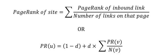 calcular pagerank formula google