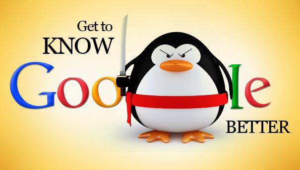 pinguino con una espada fondo amarillo de google