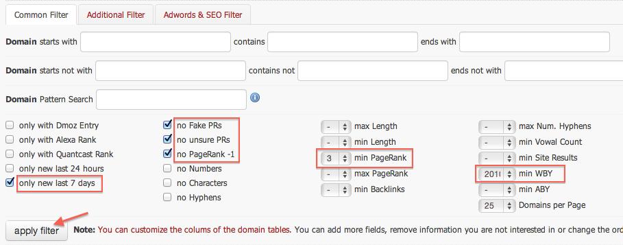 aplicando filtros a expireddomains.net
