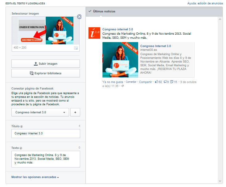 configuracion de un anuncio de facebook ads