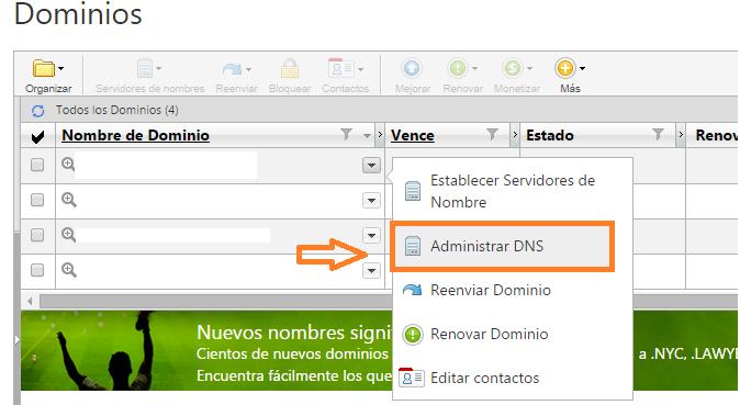 Acceder a las DNS de Godaddy