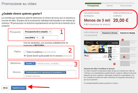 campaña de adwords para video4
